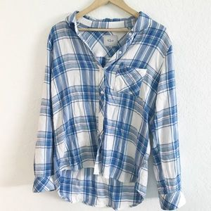 Rails Kendra M Plaid Navy Blue White Long Sleeve